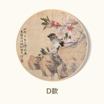 现代简约客厅三联装饰画 圆形花鸟挂画 卧室床头玄关壁画 新中式冬天