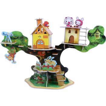 3d儿童立体拼纸质diy幼儿园手拼义乌孩玩具批发地摊货源 动物树屋