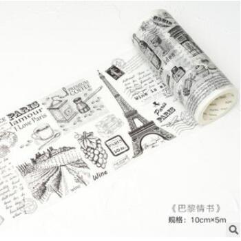 陌境和纸胶带 欧洲记忆黑白建筑手绘手帐日记diy贴纸贴画 10款选 巴黎