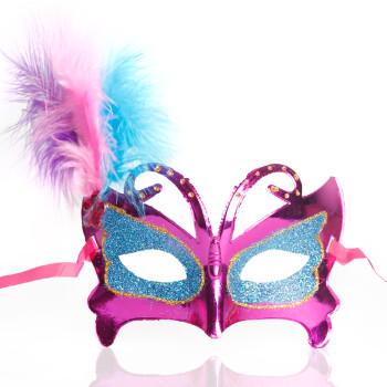 仕彩 万圣节舞会面具 羽毛绒毛蝴蝶金粉面具美艳宴会