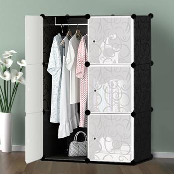 骁熊经济衣柜简易衣柜组装树脂衣橱折叠组合收纳柜塑料布艺储物柜