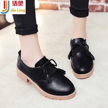 软妹小皮鞋冬季韩版新款加绒保暖粗跟单鞋学流苏女鞋子lxt 黑色 38