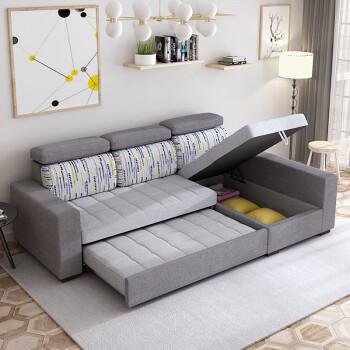 奥薇妮 布艺沙发 沙发床两用折叠三人布艺可拆洗储物多功能推拉小户型图片