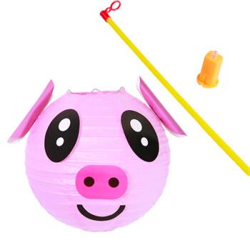diy卡通灯笼手提幼儿园手工制作灯笼材料包亲子活动 diy灯笼 小猪