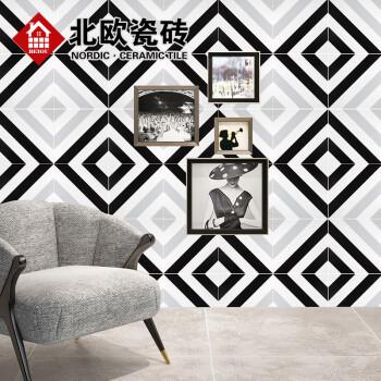 设计师北欧黑白灰花砖斑马条纹花片厨卫防滑地砖餐厅墙砖瓷砖 黑白