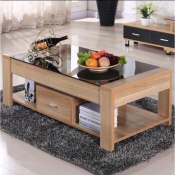 创意小户型木质桌子茶几简约现代客厅钢化玻璃电视柜茶几组合 1.