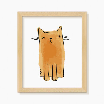 儿童房装饰画女孩房卧室床头挂画可爱公主卡通猫壁画北欧组合墙画sn08
