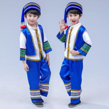 新款儿童苗族演出服男童少数民族服装壮族云南土家族葫芦丝表演服