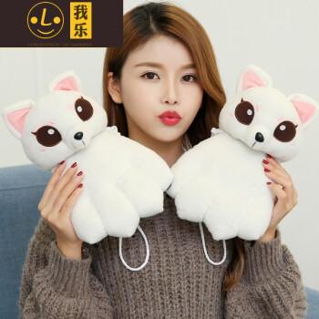女冬季加厚可爱韩版卡通萌甜美情侣款学生保暖棉全指猫爪子 白色 白狐