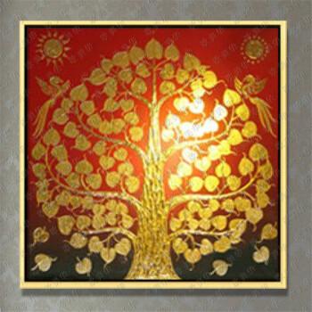 欧美华手绘东南亚风格金箔画(菩提树)有框油画客厅卧室玄关餐厅酒店挂