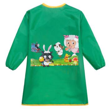儿童画画衣围裙反穿衣防水绘画衣幼儿园吃饭衣 环保透气罩衣 绿色