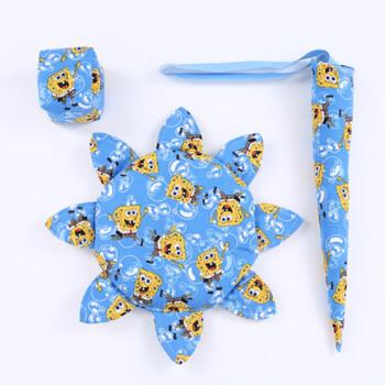 幼儿园手工沙包布尾巴三件套户外玩具布艺软飞碟 蓝色海绵宝宝