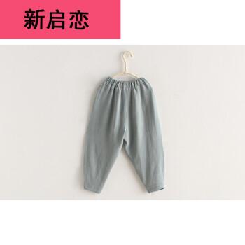 香港潮牌 女童裤子棉麻2017秋装童装女宝宝素色哈伦裤