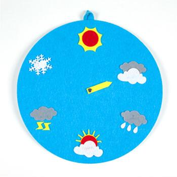 幼儿园天气预报气象时钟表时间diy不织布益智早教玩具