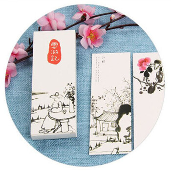 悠然古典可爱创意手绘复古风书签 中国风diy精美文艺纸质书签30张 云