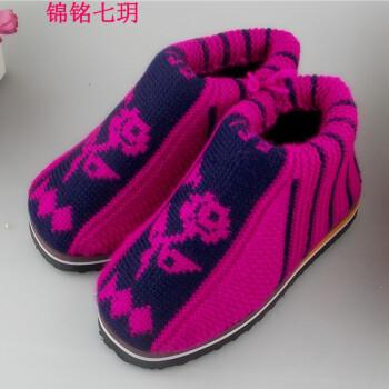 玥2017秋冬新款毛线手工编织棉鞋 室内女士居保暖棉鞋毛线棉鞋 棉拖鞋