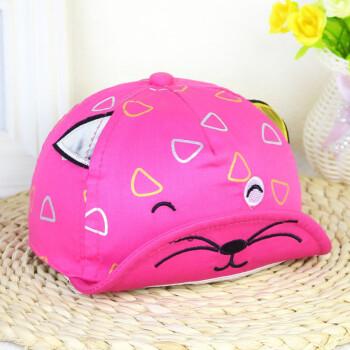 新款儿童帽子 绣花猫咪折檐婴儿鸭舌帽 猫耳朵宝宝帽子 梅红色 均码