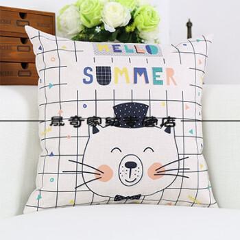 创意手绘猫咪亚麻棉麻沙发家居客厅装饰抱枕床头桌椅靠垫 创意手绘2