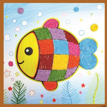 纸绳画儿童手工制作材料包彩绳粘贴画儿童创意diy画卡通手工贴画 2