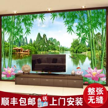画电视背景墙壁纸壁画5d立体客厅卧室现代山水翠竹风景画无缝8d凹凸影