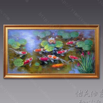 九鱼图客厅挂画中式风水横版客厅餐厅手绘手工油画鲤鱼装饰画壁画sn图片