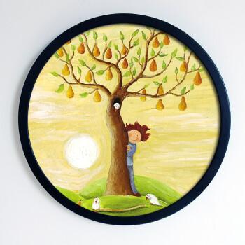 宝贝梦想圆形组合装饰画儿童房幼儿园培训学校艺术壁画墙画挂画 柠檬
