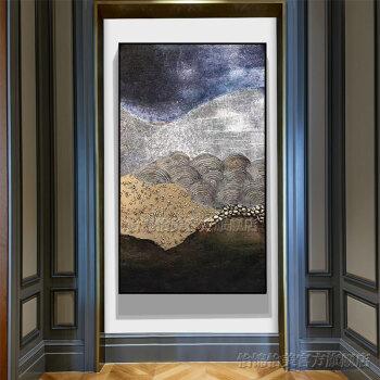 玄关装饰画竖款手绘油画新中式现代简约立体3d抽象山水风景挂画办公室