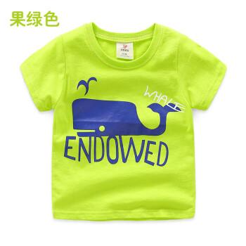 果男童童装_宝宝鲸鱼短袖t恤 2018夏装新款男童童装儿童字母卡通上衣tx-8427 果