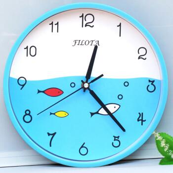 儿童房挂钟客厅卧室小学生钟表卡通圆形创意时钟石英钟表 26cm浅蓝鱼图片