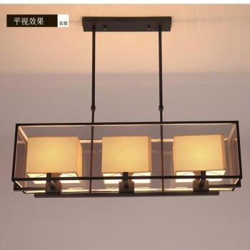 长方形新中式餐厅吊灯 仿古简约现代客厅灯铁艺吧台中式灯具 暖白 哑