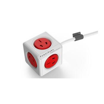 PowerCube魔方插座 可扩展USB立方体创意插座 荷兰Allocacoc模方 无USB款(红色 3米延长线)