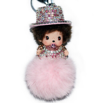 优诚镶钻蒙奇奇公仔bv编织汽车钥匙扣挂件定制毛绒男女士可爱娃娃diy