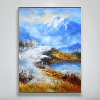 印象斑斓 雪域高原 简约现代风景手绘油画 巨幅竖款酒店办公室玄关