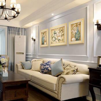 收纳用品 收纳柜 卉布(huibu) 麋鹿北欧客厅装饰画沙发背景墙三联画图片