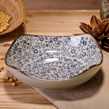 日式釉下彩手绘盘子 陶瓷方形创意个性汤盘 深盘复古碟子韩式餐具