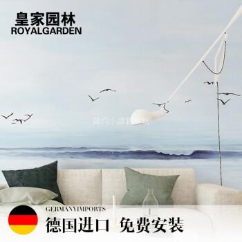 简约手绘大海壁纸蓝天白云海鸥大型壁画客厅卧室电视背景墙纸沙发影视