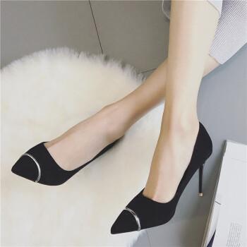 杨幂同款金属尖头性感细跟高跟鞋秋新款绒面舒适女王气质浅口单鞋