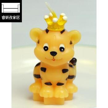 十二生肖生日小动物无烟蜡烛创意本命年派对卡通生日蜡烛 黄老虎