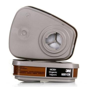3M 口罩防尘防毒面具防甲醛喷漆防雾霾PM2.5面罩6200升级版 6001CN滤毒盒1对,降价幅度1.7%