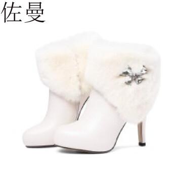 佐曼白色短靴女真皮秋季细跟冬天鞋子女高跟鞋欧洲站靴子女兔毛防水台