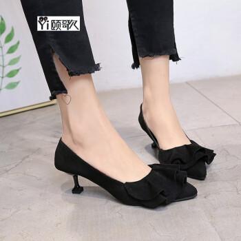 颐歌3-5厘米高跟鞋女上班工作鞋单鞋细跟尖头新款2017