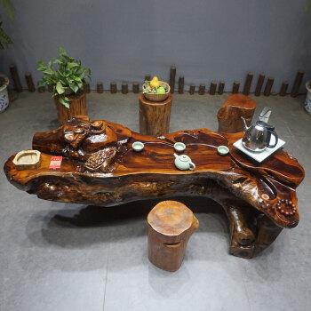 铭篆工艺 鸡翅木根雕茶几实木树根雕刻树桩茶台原木树