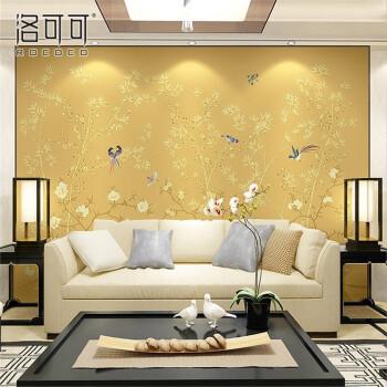 新中式电视背景墙纸手绘花鸟定制壁画卧室客厅无缝墙布影视墙壁纸