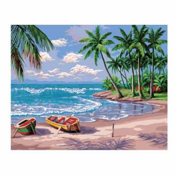 画diy数字油画涂色客厅风景手工填色填充手绘装饰油彩画sn7513 海滩