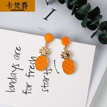 卡梵赛韩国韩版时尚可爱原宿橙子菠萝水果荷包蛋滴油耳环 创意吊坠