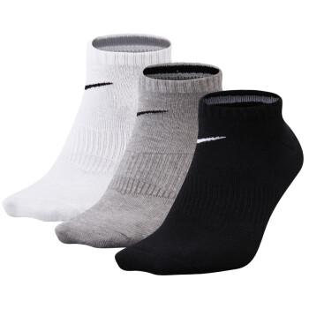 耐克 NIKE 中/短筒薄厚袜子 三双装网球袜 运动袜 SX4786-901黑灰白 S(35-38码)