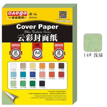 文仪易购OAego 云彩封面纸(皮纹纸)A4 210*297mm 100张/包 14#浅绿色 230g