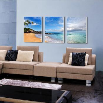 天画装饰画简约有框画沙发电视背景墙客厅彩画壁画挂画风景拼套画 黑色框 180X80cm(套 黑色框