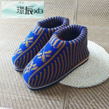 手工针织毛线鞋成品保暖编织棉鞋冬男女款高帮老人包跟棉拖鞋防滑wy