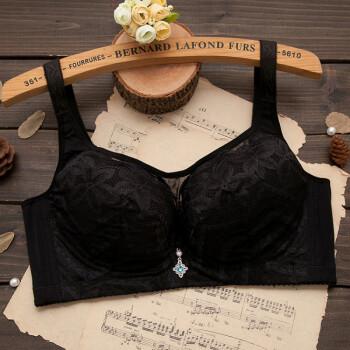 钢圈调整型薄款内衣大码胸罩收副乳显小侧收大罩杯胖mm女士文胸 黑色